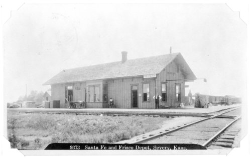 St. Louis, San Francisco and Atchison, Topeka and Santa Fe Railway Company depot, Severy, Kansas. - Page