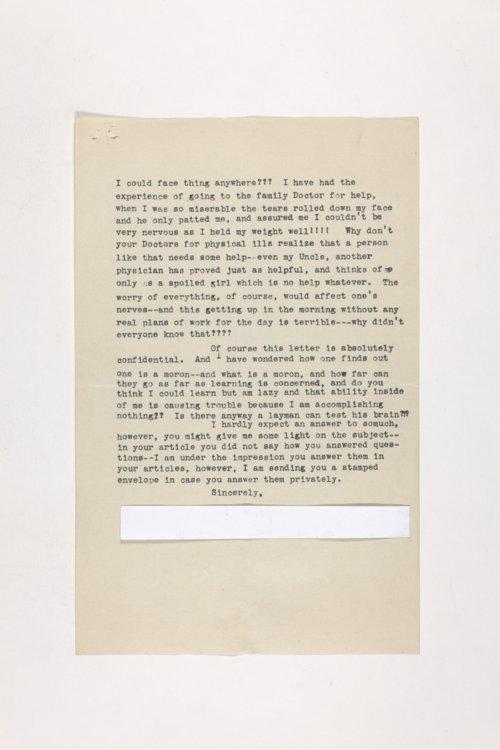 Dr. Karl Menninger Ladies Home Journal Letters 1-20 - Page