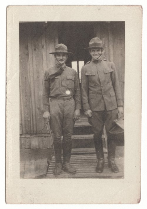 Adrian H. Lindsey and an unidentified soldier at Camp Funston, Kansas - Page