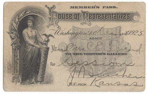 Member's pass to the United States House of Representatives issued to Mr. and Mrs. Carl Edison Friend - Page
