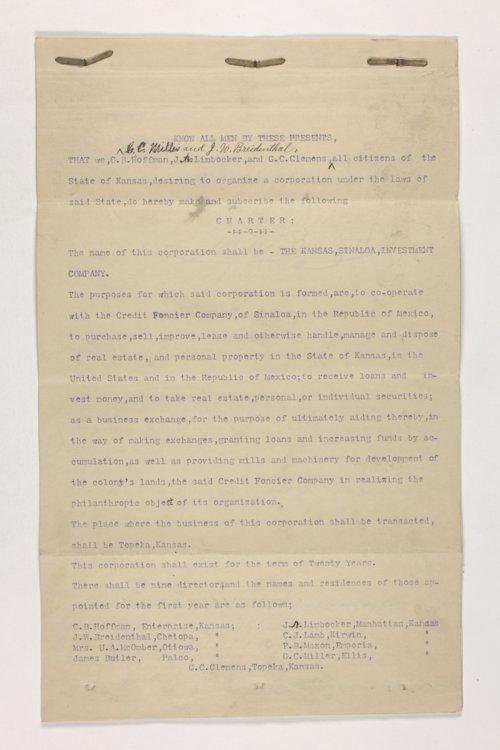 Charter of the Kansas Sinaloa Investment Company, Dickinson County, Kansas - Page