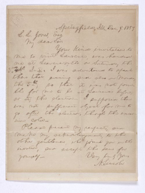 Abraham Lincoln to L. [Levant] L. Jones - Page