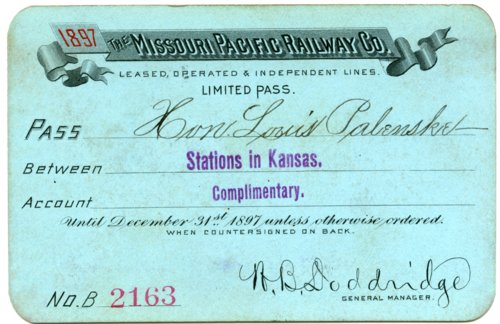 Missouri Pacific Railway Company complimentary pass - Page
