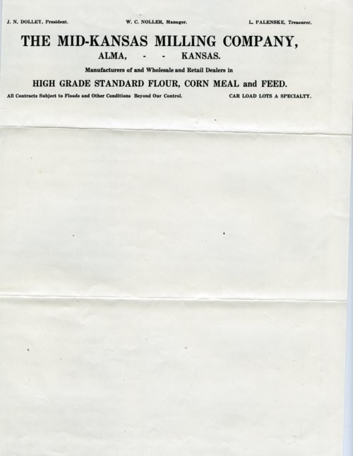 Mid-Kansas Milling Company Letterhead - Page