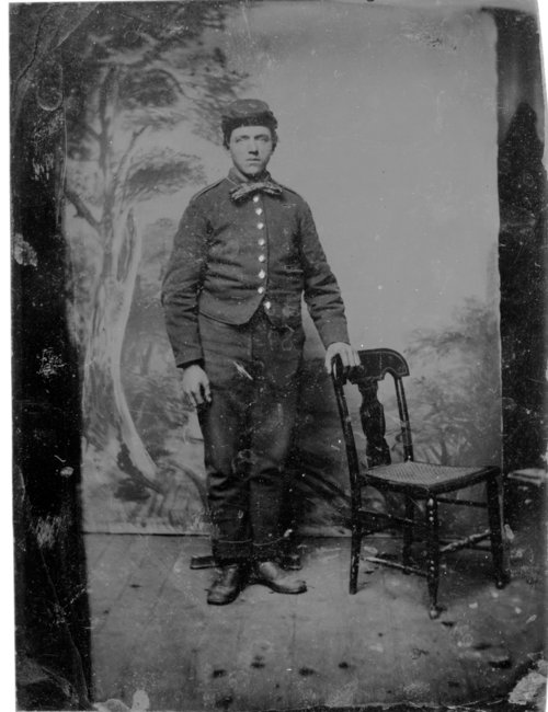 Tintype photo of uniformed soldier - Page