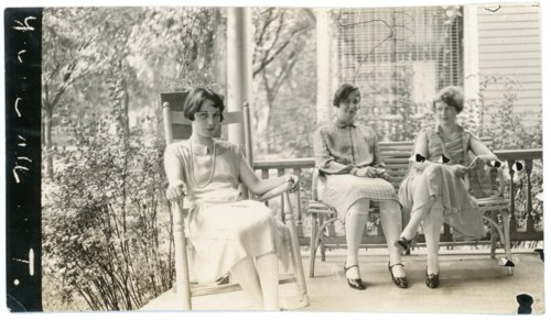 Florence Palenske and girls seated on porch - Page