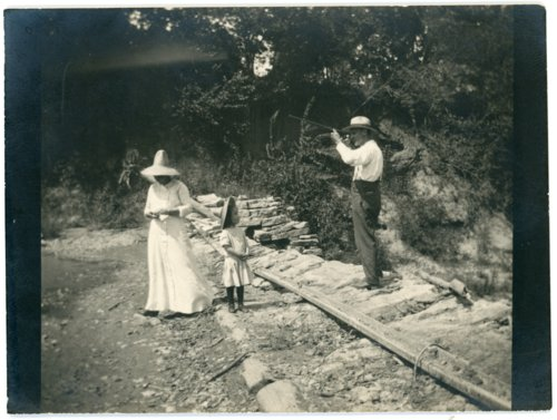 Louis, Emma and Florence Palenske at Mill Dam - Page