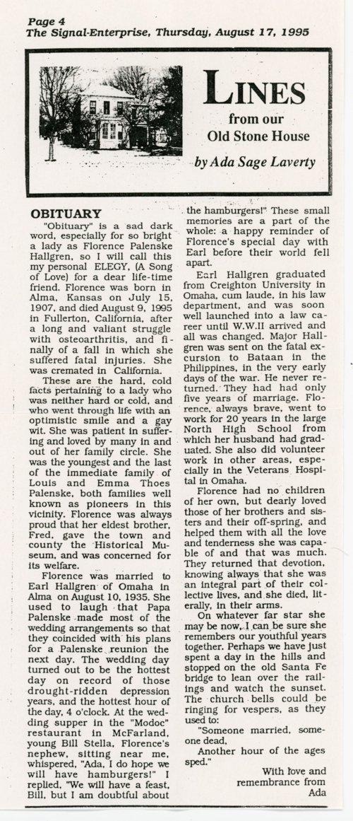 Obituary for Florence Palenske Hallgren - Page