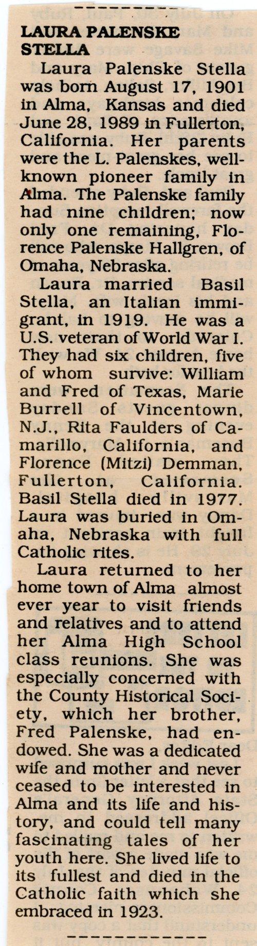 Obituary for Laura Palenske Stella - Page