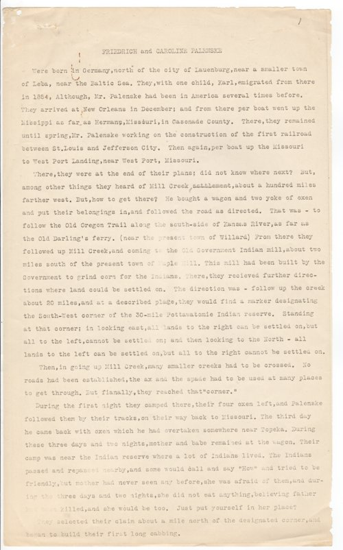 Biography of Frederich and Caroline Palenske - Page