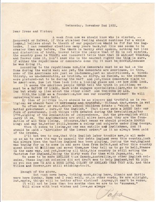 Letter from Louis Palenske to Victor Palenske - Page