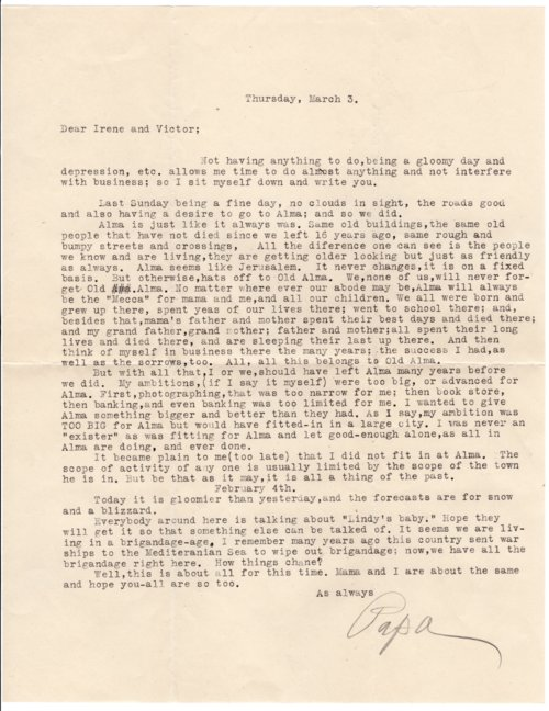 Letter from Louis Palenske to Victor Palenske - Page