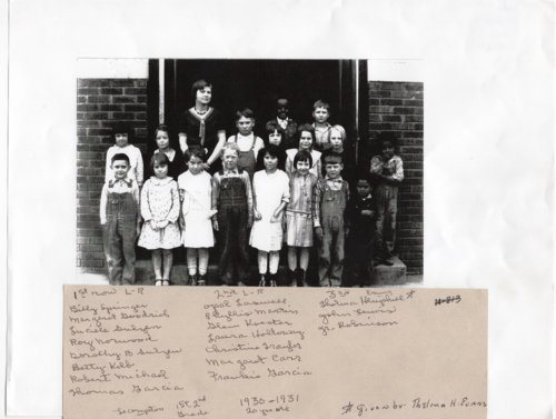 1930-1931 First and Second Grade Class Photo, Lecompton Grade School - Page