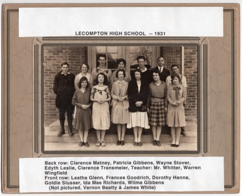 1931 Senior Class, Lecompton Rural High School, Lecompton, Kansas - Page