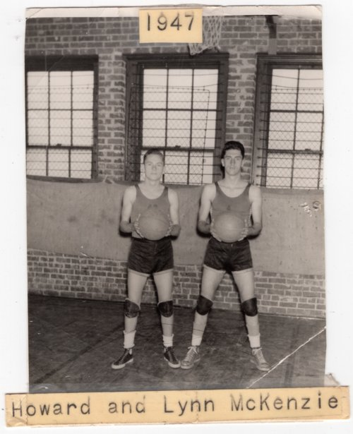 Photograph of Lecompton Basketball players Howard and Lynn McKenzie, Lecompton, Kansas - Page