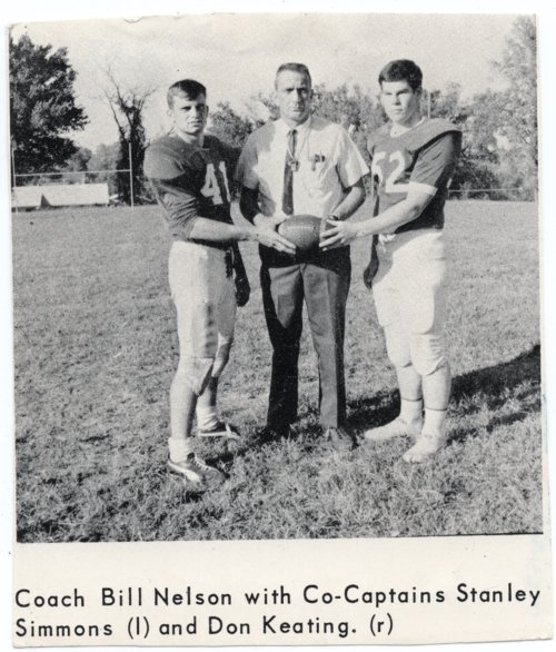 Picture from Yearbook of Football Players Simmons and Keating with Coach Nelson, Lecompton High School - Page