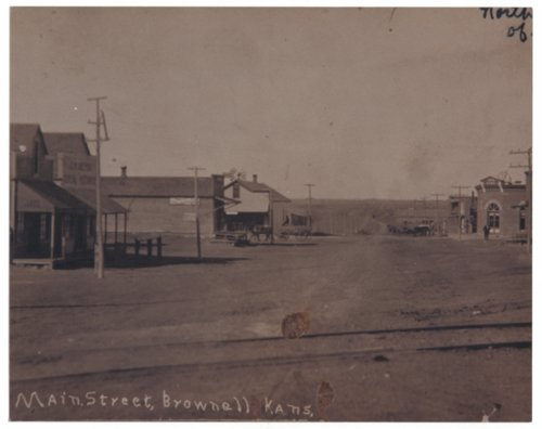 Main street in Brownell, Kansas - Page