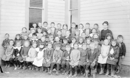 Class picture outside a frame schoolhouse in Wallace County, Kansas - Page