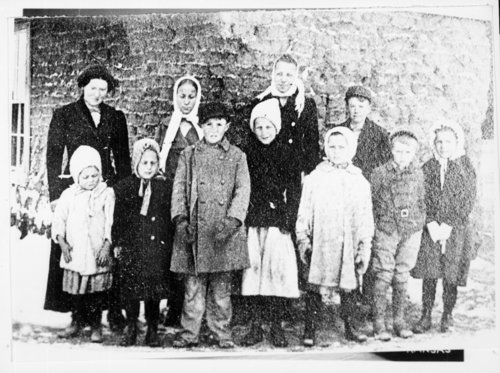 Students outside sod schoolhouse, Wallace County, Kansas - Page