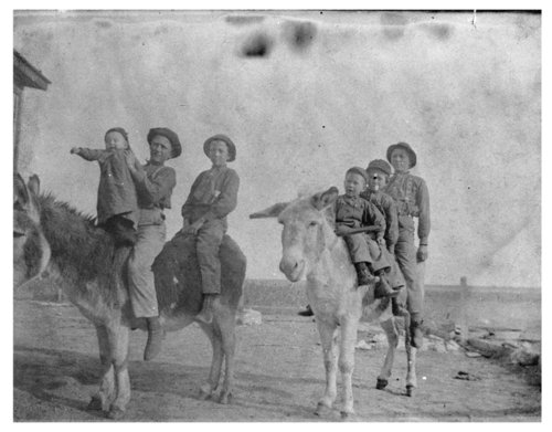 Children riding donkeys, Lane County, Kansas - Page
