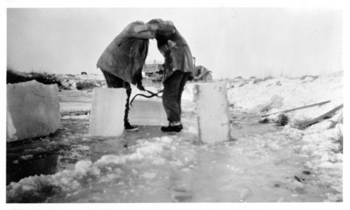 Cutting ice for the ice house, Lane County, Kansas - Page
