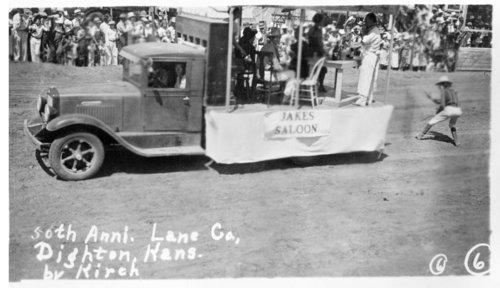 """Parade floats, """"50th Anniversary of Lane County,"""" Dighton, Lane County, Kansas - Page"""