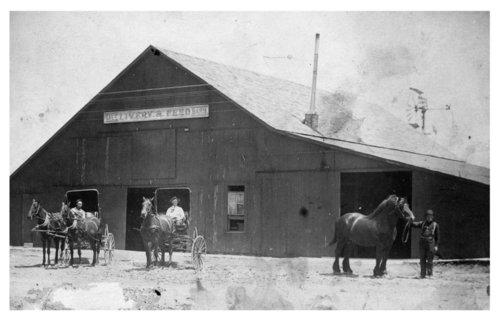 Exterior view of the Dighton livery barn, Lane County, Kansas - Page