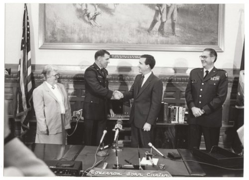 Major Generals Joe H. Engle and Ralph T. Tice with Governor John Carlin - Page