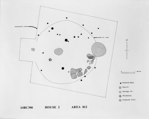 Map of Pit House 2 at the Kermit Hayes Site, 14RC306 - Page