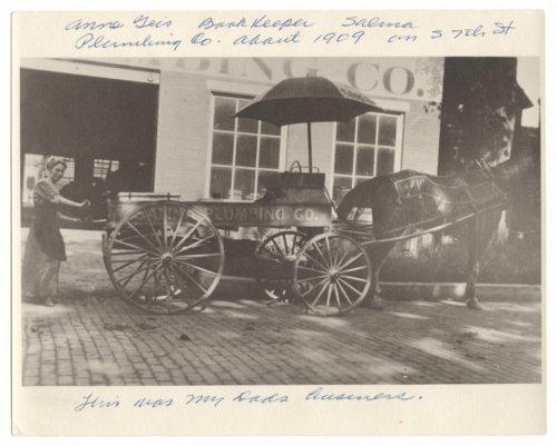 Salina Plumbing Company delivery wagon, Salina, Kansas - Page