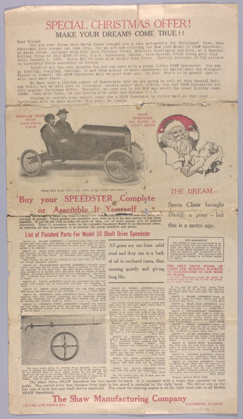 Handbill for Shaw Speedster - Page