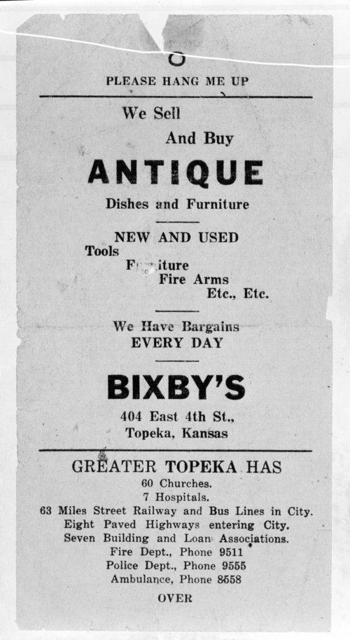 antique stores topeka ks Bixby Antique Store flyer   Kansas Memory   Kansas Historical Society antique stores topeka ks