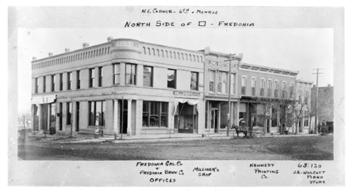 View of the northeast corner of the north side of the courthouse square in Fredonia, Wilson County, Kansas - Page