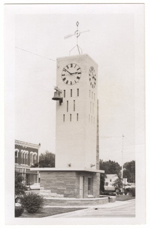 Memorial tower and clock from old courthouse, Fredonia, Kansas - Page