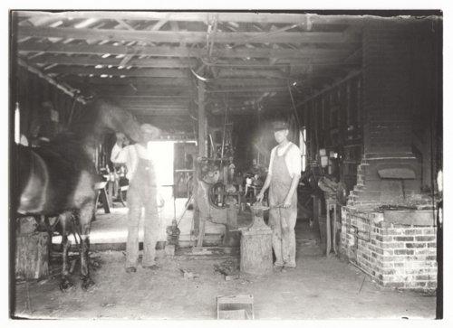 Three photographs of John Ellis' blacksmith shop in Benedict, Wilson County, Kansas - Page