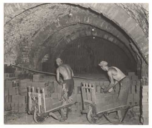 Men loading a kiln, Excelsior Brick Company plant, Fredonia, Kansas - Page