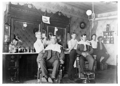 Interior of Pitty Brothers barber shop in Benedict, Wilson County, Kansas - Page