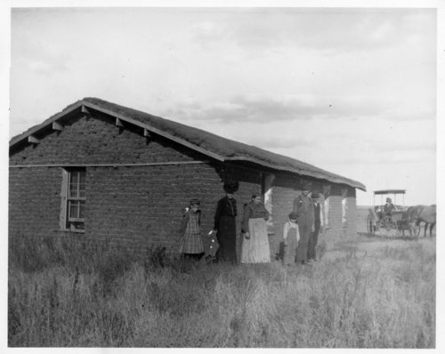John Cersovsky family in front of their sod house, Thomas County, Kansas - Page