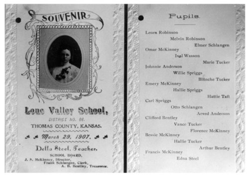 Photo of a rural school souvenir from the Lone Valley School, District No. 66, Thomas County, Kansas - Page