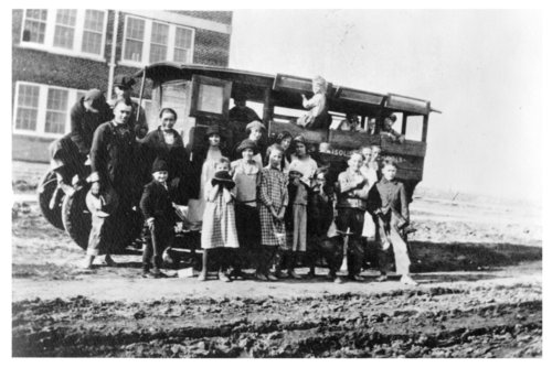 Students pose with their school bus, Brewster, Thomas County, Kansas - Page