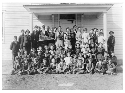 Group of students in front of a school building, Brewster, Thomas County, Kansas - Page
