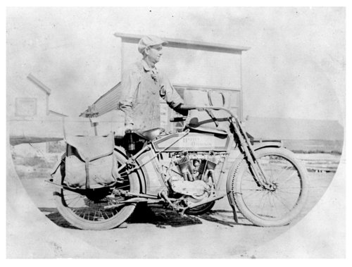 Motorcycle used to deliver the mail from the Brewster, Thomas County, Kansas post office - Page