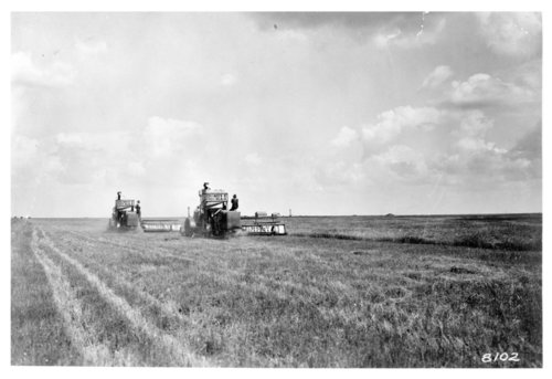 Rumely combines harvest wheat in a field in Thomas County, Kansas - Page