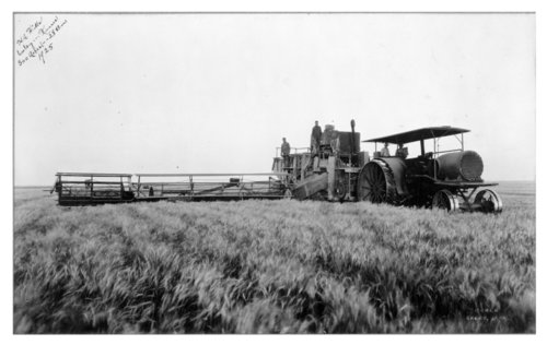 Two views of wheat harvesting on the H.A. Hill farm, Thomas County, Kansas - Page