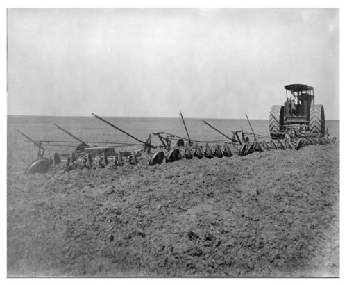 Plowing a field for wheat, Thomas County, Kansas - Page