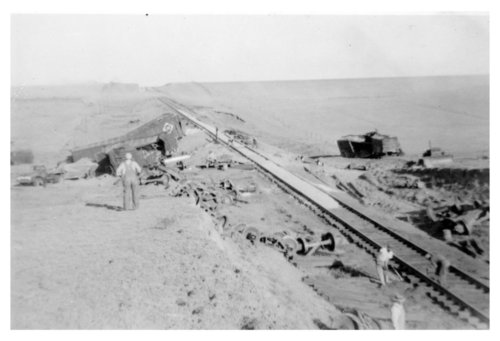 Train wreck on the Rock Island west of Levant, Thomas County, Kansas - Page