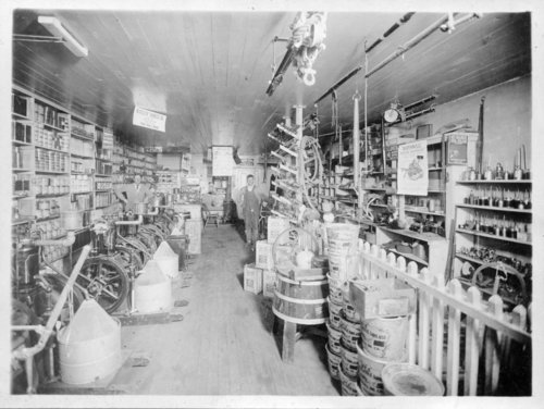 Interior of an unidentified hardward store, Colby, Thomas County, Kansas - Page