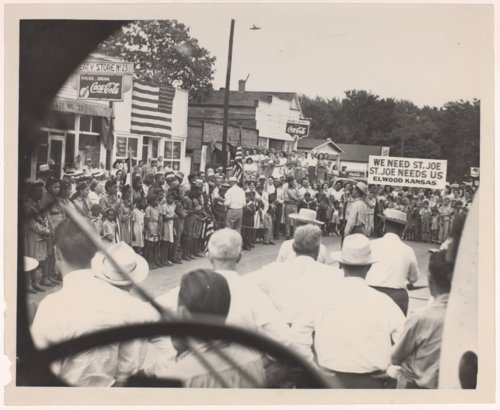 People attending a rally in Elwood, Kansas - Page