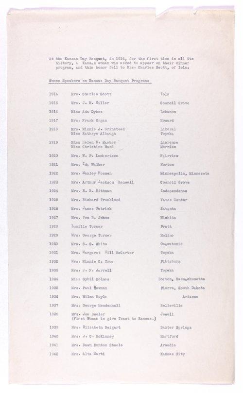 Kansas Day Club Banquet women speakers - Page