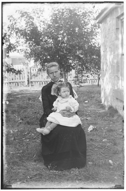 Mrs. C. C. McGuire and her daughter Clara at the Cottonwood Ranch, Studley, Kansas - Page